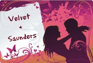 Saunders + Velvet with text Vector